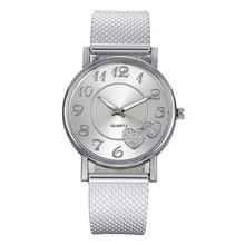 Vintage reloj de las mujeres de plata y oro de malla de Dial de corazón amor pulsera de moda de mujer Casual relojes de cuarzo reloj femenino