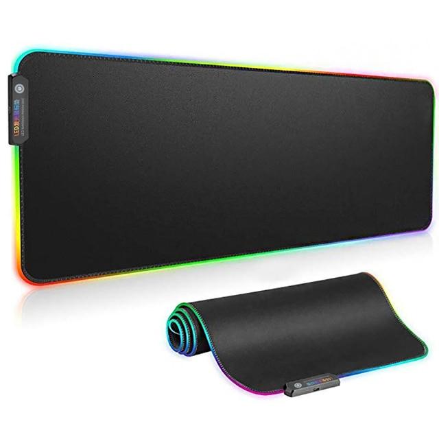 Tappetino per mouse da gioco luminoso per Computer RGB colorato grande incandescente USB LED tastiera illuminata estesa PU tappetino da scrivania antiscivolo