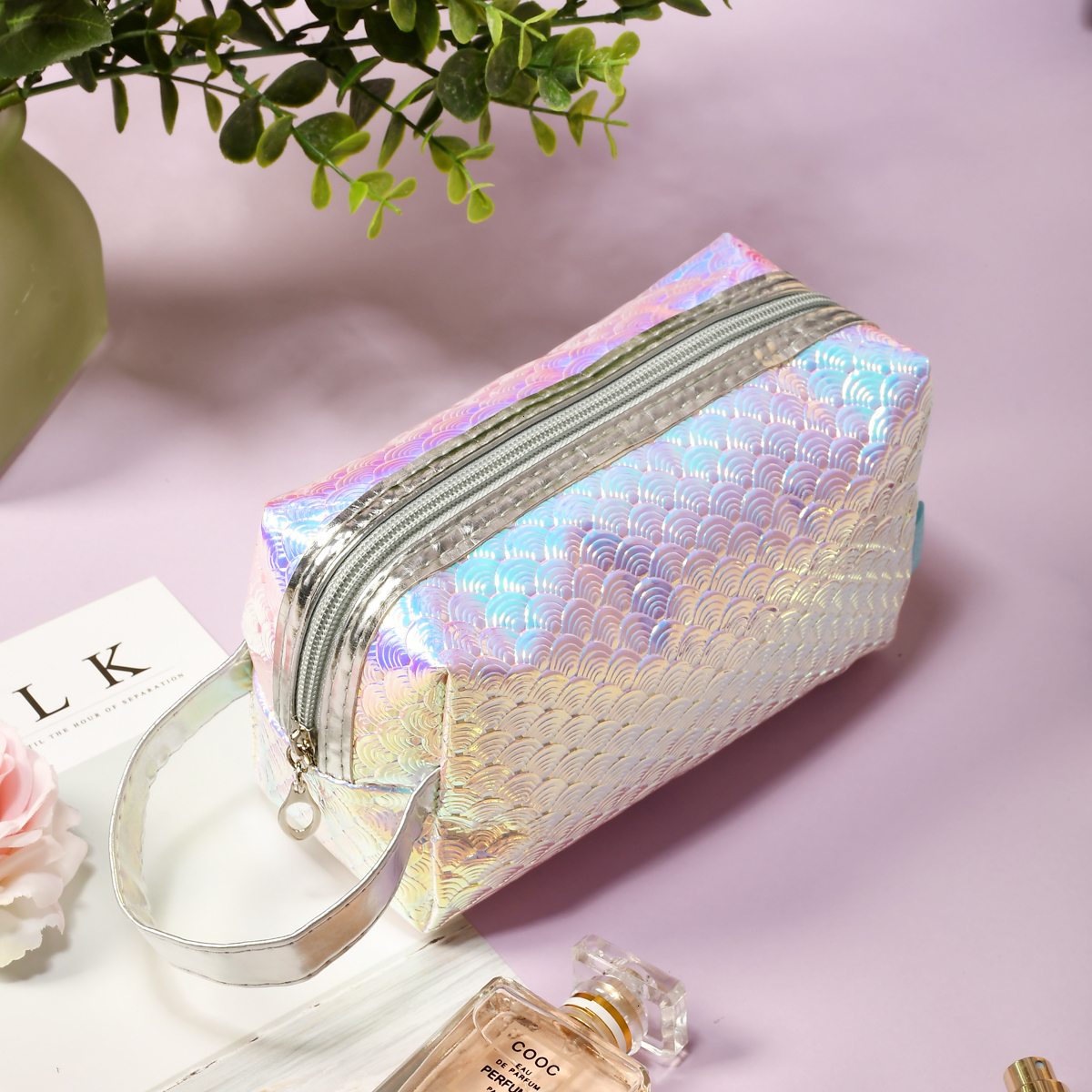 BEAUTYBIGBANG 1PC Waterproof Large Capacity Colorful Scale Cosmetic Bag Mermaid Makeup Portable Pouch Nail Art Tool Holder Case