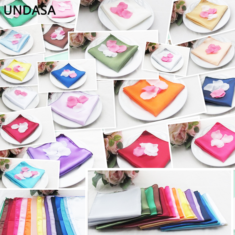1pc 30cm Table Napkin Square Satin Fabric Pocket Handkerchief Cloth For Wedding Decoration Event Party Hotel Home Supplies