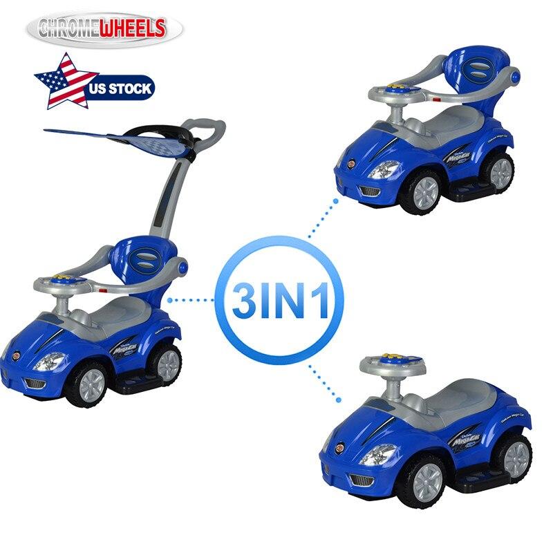 ChromeWheels 3 en 1 tour sur les jouets poussant la voiture avec garde-corps, méga voiture pour poussette de poignée de chariot d'enfant en bas âge