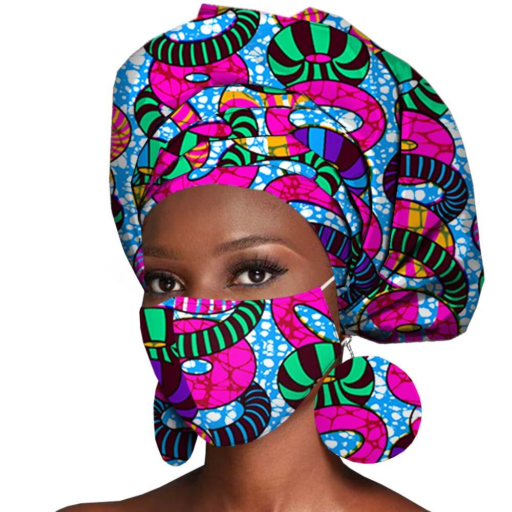 African Headwrap Earrings Hair Accessories Scarf Bonnet Ankara Wax Fabric Head Turban African Headscarf Mask Match Print A20H004