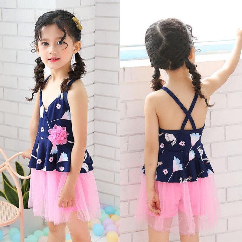KID'S Swimwear Women's Children 2019 New Style Korean-style Princess Lace Baby Girls Students Hot Springs Swimwear