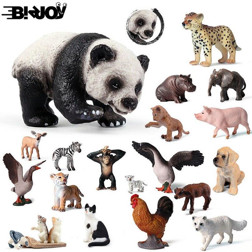 Cute Cub Model Simulation Zoo Wildlife Figure Lovely Educational Baby Panda Lion Zebra Elephant Animal Toy Child Kids Decor Gift