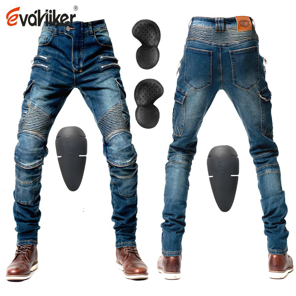 2019 New Zip Pocket Motorcycle Pants Men Moto Jeans Protective Gear Riding Touring Motorbike Trousers Motocross Pants Moto Pants