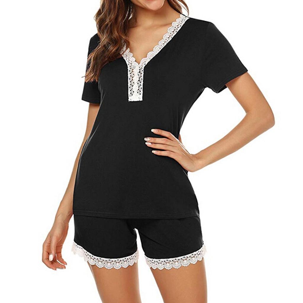 Short Pants+Short Sleeve Tops   Pajamas     Sets   Nightwear Plus Size S-XXL Lace Stitching Pyjamas Women Sleepwear 2Pcs/Setsleepwear *B