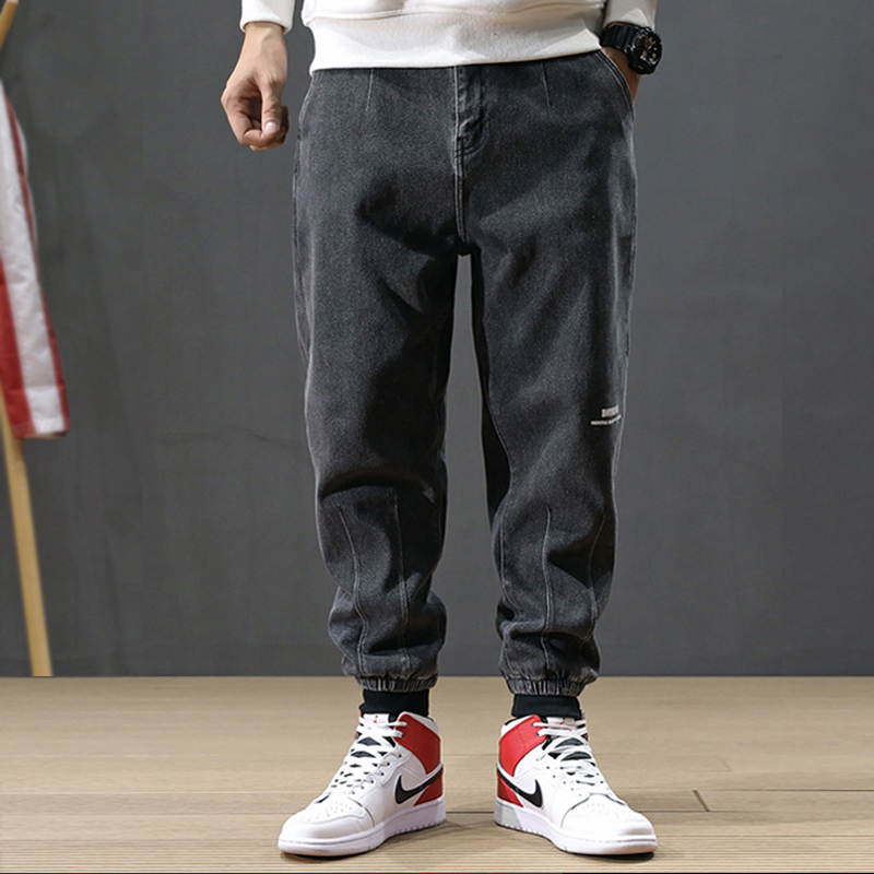 Japanese Style Fashion Men Jeans Loose Fit Black Gray Spliced Cargo Pants Homme Harem Jeans Men Streetwear Hip Hop Joggers Jeans