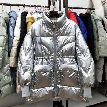 пуховик женский reebok down long jacket цвет бежевый dh1299 размер m 48 Winter 2020 Silver Women's Medium And Long Loose Waist Slimming Preppy Style Down Jacket  пуховик женский зимний