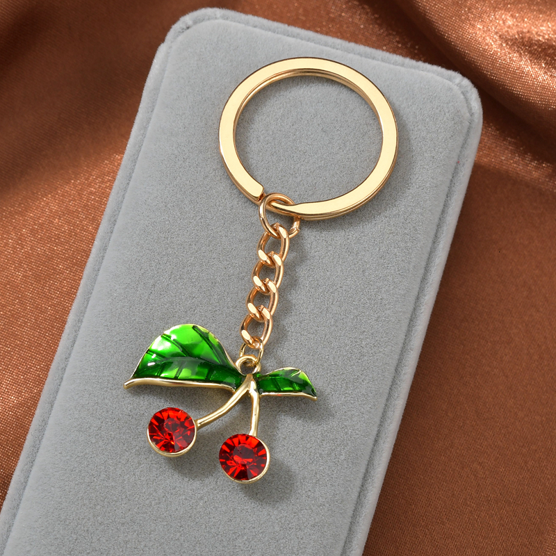 New Fashion Cute Multiful Key Chain Enamel KeyChain Shinny Rhinestone Cherry Rose Flower Plant Jewelry For Women Girls