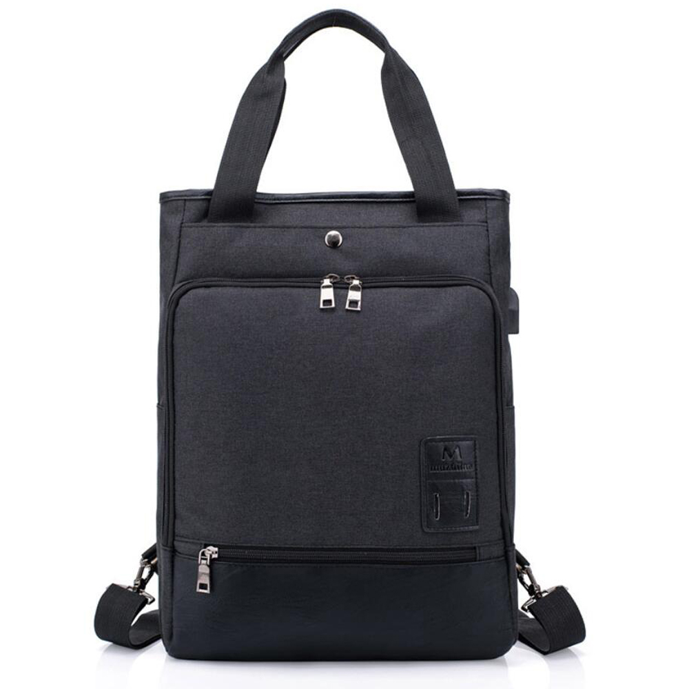 2018 USB Charging Canvas Backpack PU Leather Women School Backpacks Schoolbag For Teenagers Man Student Book Bag Boys Satchel