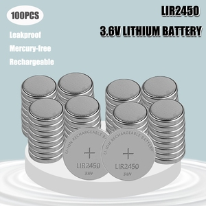 100PCS 120mAH LIR2450 Lithiium lir Ion Rechargeable Battery 3.6V Li-ion button coin cell replace for CR2450 CR 2450