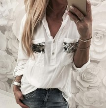 2021 nowych kobiet biała bluzka długi guzik na rękawie głęboki dekolt bluzka biała koszula na co dzień topy modne ciuchy tanie tanio Yezw COTTON Poliester CN (pochodzenie) Wiosna jesień REGULAR Osób w wieku 18-35 lat V-neck WOMEN NONE Pełna Suknem Drukuj