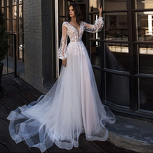 Bride-Gown Wedding-Dress Long-Lantern-Sleeve Princess Sweep-Train Appliques Lace V-Neck