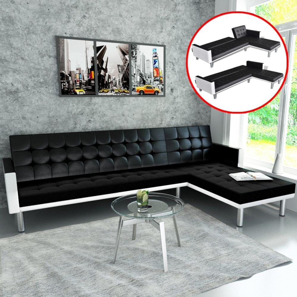 [ES Warehouse]    L-shaped Sofa Bed Synthetic Leather Black Sofa  Free Shipping Spain Drop Shipping