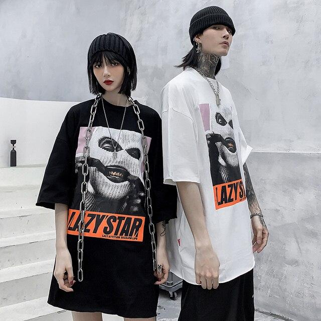 Oversize Hip Hop T Shirt Men 2020 Streetwear Harajuku Masked Man Print Tshirt Short Sleeve Cotton Casual T-Shirt Black Plus Size 4