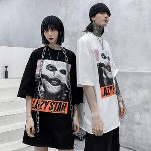 Image 4 - Oversize Hip Hop T Shirt Men 2020 Streetwear Harajuku Masked Man Print Tshirt Short Sleeve Cotton Casual T Shirt Black Plus Size