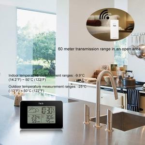 Image 3 - FanJu FJ3364 Weather Station Digital Clock Wireless thermometer hygrometer Sensor LED Alarm Snooze Table Clocks Tools DCF