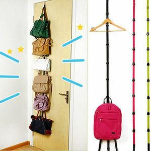 Popular Adjustable Over Door Straps Hanger Hat Bag Coat Clothes Rack 8 Hooks Convenient Saving Space