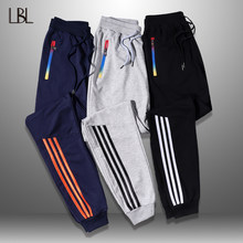 Lbl calças masculinas listrado jogger outono casual dos homens sweatpants calças compridas novas calças retas homem roupas de fitness 5xl