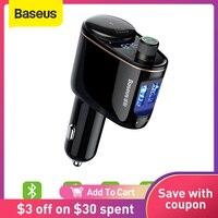 Baseus FM Transmitter Modulator Bluetooth 5,0 Drahtlose Auto Audio MP3 Player Zigarette Leichter Buchse Splitter Auto Telefon Ladegerät