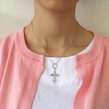 Amaiyllis 925 Sterling Silver Simple Cross Necklaces Pendant Fashion Personality Hollow Silver Cross Clavicle Necklace For Women