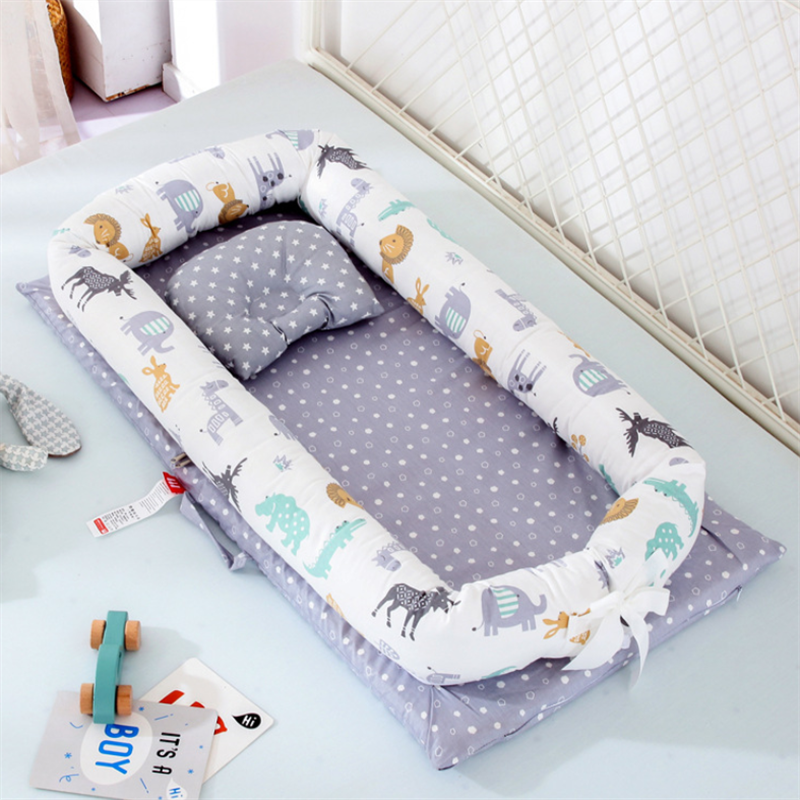 90*55cm Portable Toddler Bionic Bed Cotton Baby Bassinet Bumper,Folding Sleep Baby Nest Bed, Newborn Play Mat Travel Bed