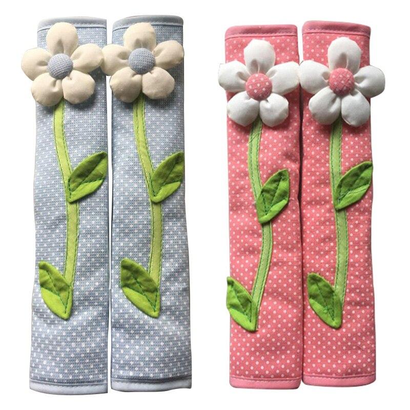 2 Pair Pastoral Flower Polka Dot Door/Refrigerator Handle Cover Fridge Door Handle Gloves Home Decor Kitchen Accessories Blue &|Refrigerator Covers| |  - title=
