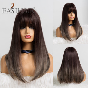 Image 5 - EASIHAIR Long Dark Red Straight Synthetic Wig with Bangs Wigs for Women Heat Resistant Fiber Daily False Hair Cosplay Wigs