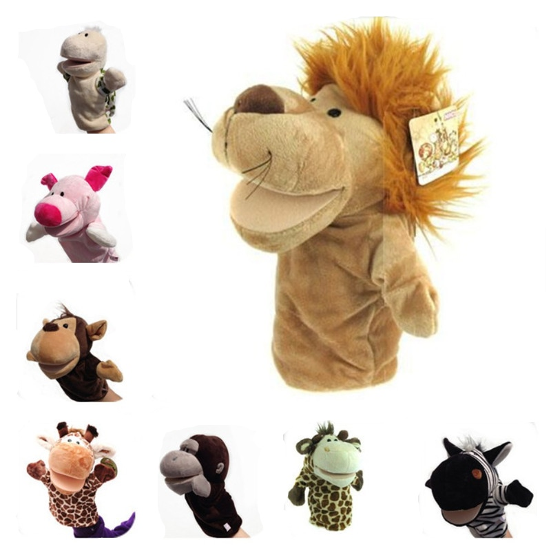 Baby Animal Plush Hand Puppet Lion Pig Elephant Open Mouth Puppet Doll Toy For Children Gifts