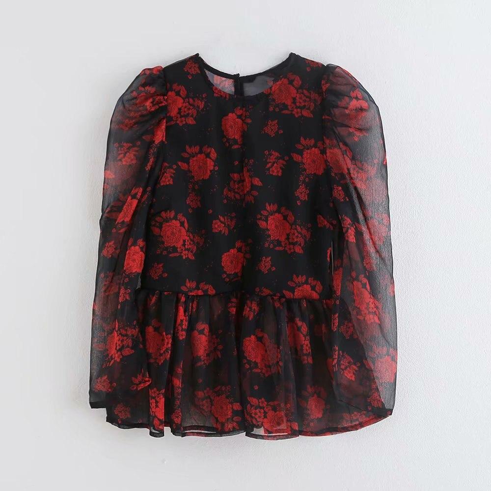 2019 New Women Elegant Puff Sleeve Floral Print Casual Smock Blouses Ladie Hem Ruffles Chiffon Shirts Chic Brand Tops LS4178