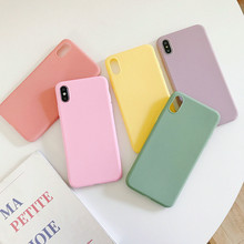Candy Color Matte Phone Case For iPhone 7 8 X XS 11 Pro MAX XR case 6 6S Plus Cover Soft Silicone Fundas