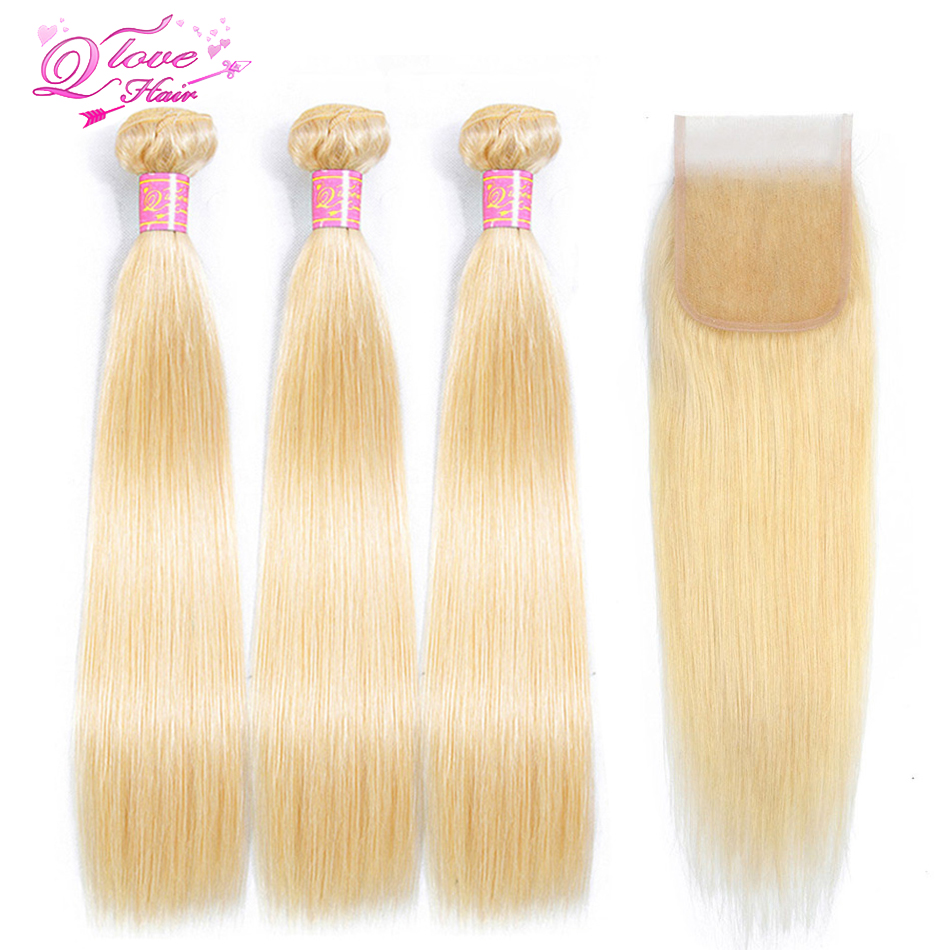 Queen Love Hair 613 Bundles With Closure Non-Remy Human Hair Weave Extensions Malaysian Blonde Hair Weave 3 Bundles With Closure