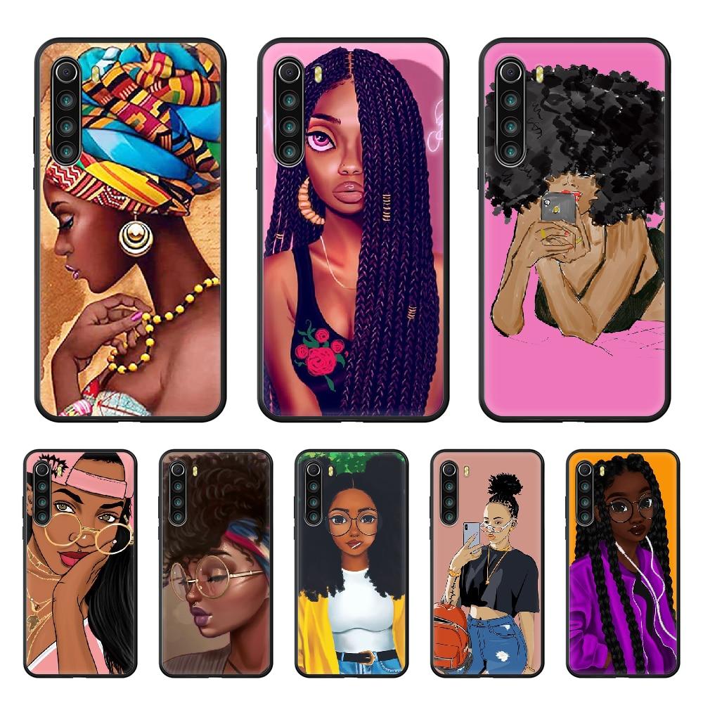 Afro Girls Black Women Art Phone Case cover For xiaomi Redmi note 4 5 6 7 8 A T X Plus Pro black hoesjes trend shell fashion