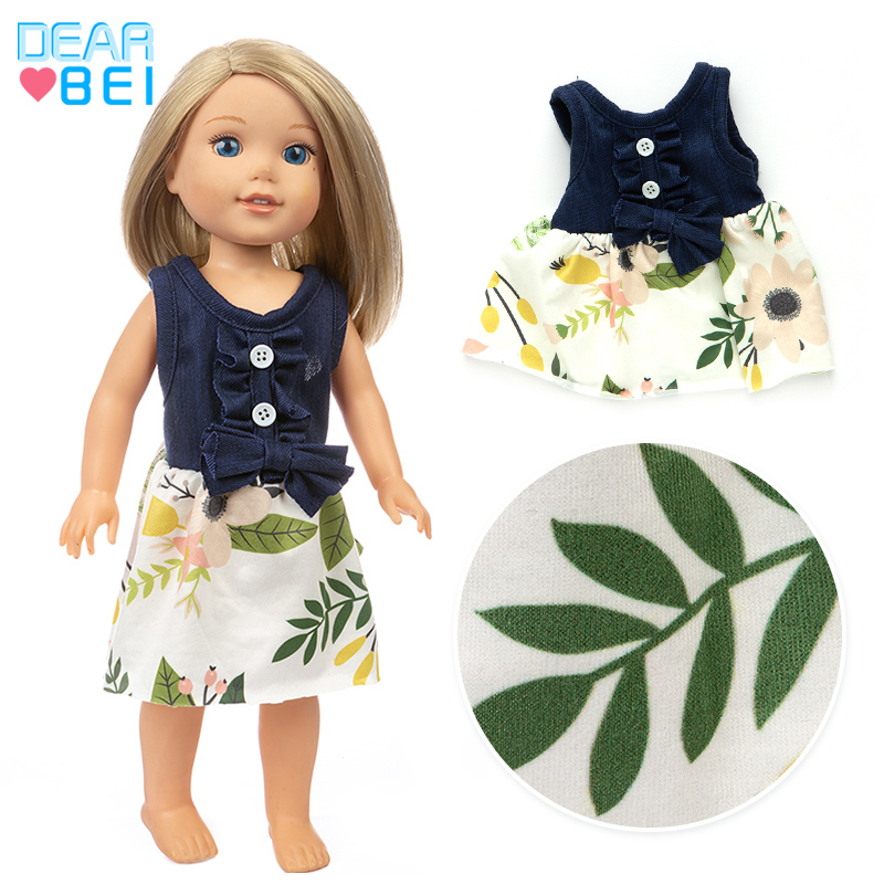 New  Blue Dress  Fit For American Girl Doll 14 Inch Doll Clothes , Shoes Are Not Included.