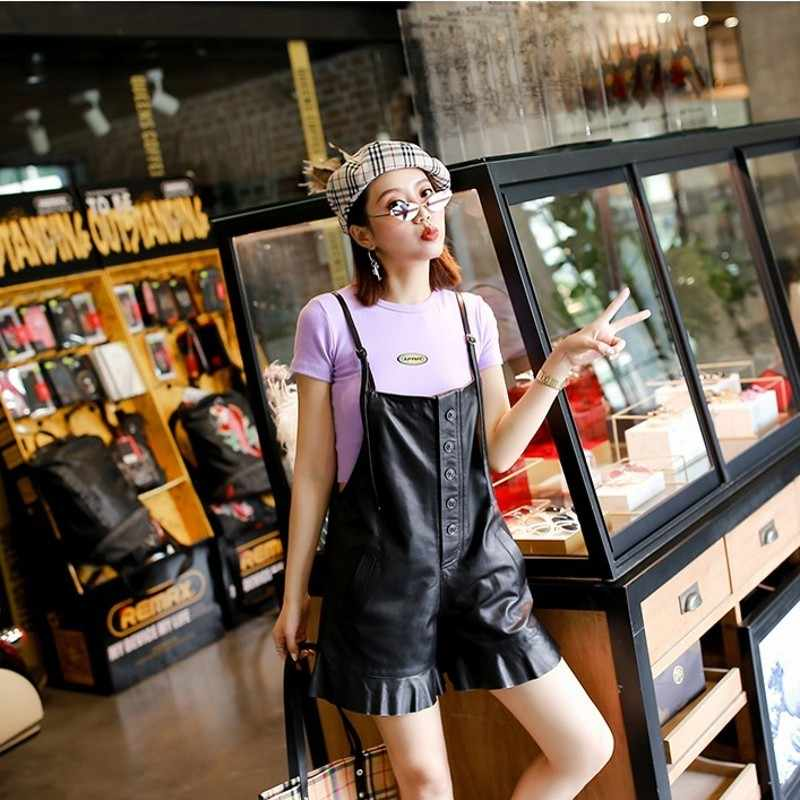 Womens outono shorts de pele carneiro correias curtas calças de couro genuíno casual alta qualidade macio feminino suspender calças streetwear