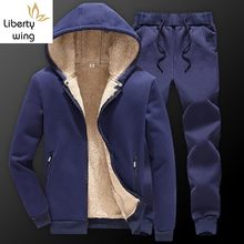 Winter Men Hooded Jackets Woolen Lining Warm Male Tracksuit Full Length Sweatpants Set Suit Casual Large Size M-4XL Sweatsuits(China)