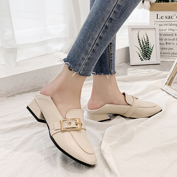 Fashion Ladies Black PU Buckle Moccasins Shoes Women Flat Platform Loafers Woman Thick Soles Moccasin Women Casual Shoes