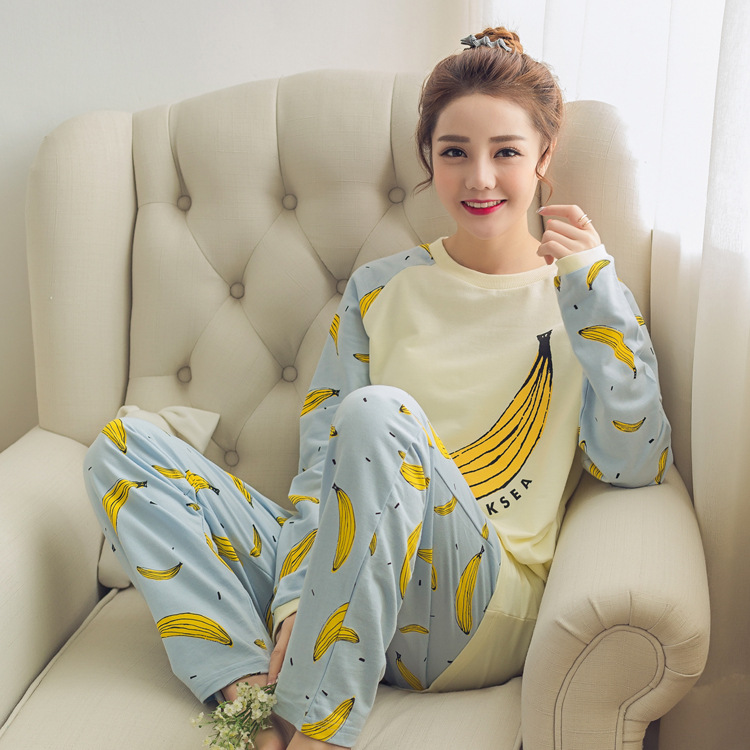 Spring And Autumn Long Sleeve Pajamas GIRL'S Thin Cartoon Banana Cute White Qmilch Homewear Set