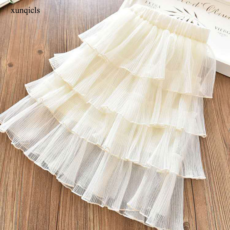 Girls Long Skirt Baby Tulle Ball Gown Kids Beautiful Skirts Fashion Child Party Casual Long Skirts in Spring Autumn Size 2-13T,Long Skirt White,4Т
