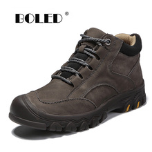 Genuine leather Men Winter Shoes Warm Plush Fur Lace-Up Men Boots Retro High Quality Shoes Men Outdoor Waterproof Snow Boots z suo winter snow boots men fur genuine leather shoes boots for men women high quality boots