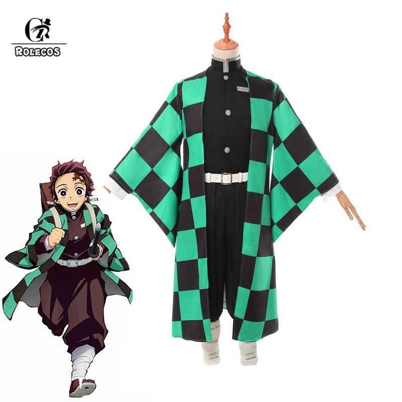 ROLECOS 애니메이션 의상 악마 슬레이어 코스프레 Tanjirou Kamado 코스프레 의상 Kimetsu no Yaiba Men 기모노 의상 할로윈