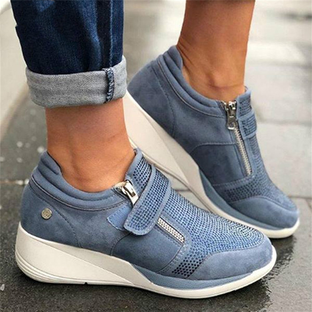 Women Shoes Hook Loop Shallow Sneaker Med Heel Wedges Female Shoes Women Vulcanize Shoes Breathable Confort Casual Ladies 756