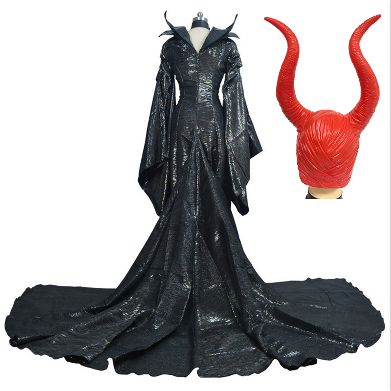 Custom Made Dark Witch Maleficent Horns Headwear Mask Adult Women Halloween Party Cosplay Costume High Quality Maleficent Dress