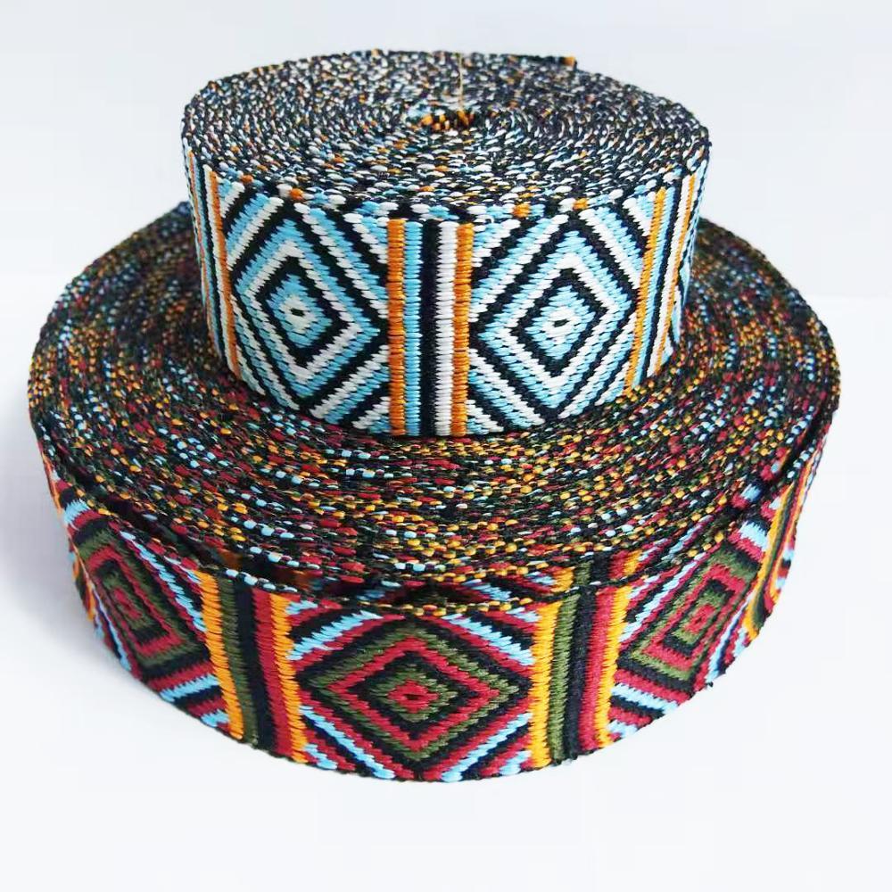 Ткань из полиэстера с вышивкой в стиле ретро, ширина 4 см, квадратная ткань для одежды, тканая жаккардовая лента, 1 ярд
