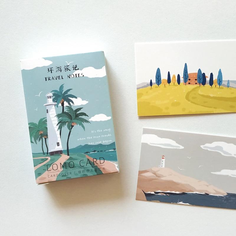 28 Pcs/Set Creative Travel Notes Lomo Card DIY Hand Painted Mini Postcard Birthday Gift Card Message Card 52*80mm