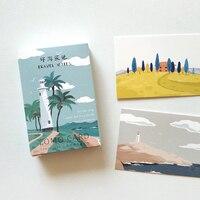 28 pçs/set Viagem Criativa Notas Cartão De Lomo DIY Pintados À Mão Mini Cartão de Mensagem De Cartão De Presente De Aniversário Cartão Postal 52*80mm|Cartões de visita| |  -