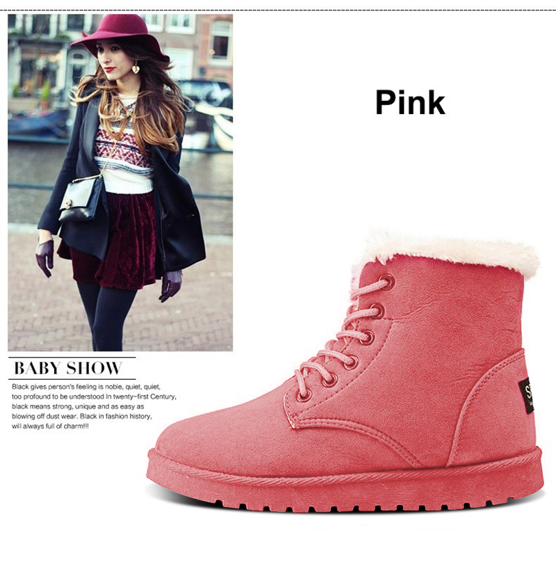 Women Flock Fur Flat Lace Up Winter Snow Suede Ankle Boots Female 23