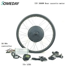цена на Fat Ebike conversion kit 72V 3000W snow bike rear cassette brushless non-gear hub motor electric bicycle wheel with LCD5
