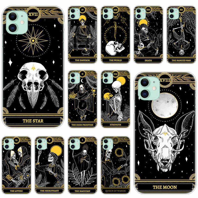 Hot Goudsbloem Tarot Schedel Card Silicone Transparant Case voor Apple iPhone 11 Pro XS Max X XR 6 6s 7 8 Plus 5 5s SE Fashion Cover