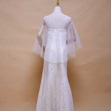 TRiXY G27 Elegant Wedding Accessories Bridal Cloak Pearls Cape Short Front Long Back Women Wrap Evening Shawl